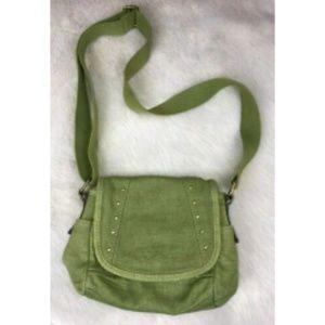 FOSSIL Green Canvas Shoulder Purse Bag EUC